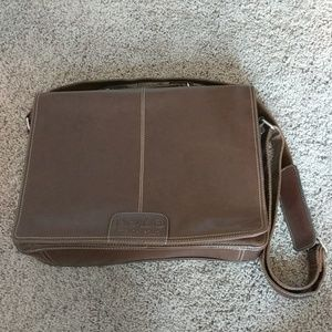 Vintage-looking brown leather briefcase